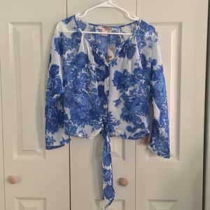 Forever 21 Lightweight Blouse Floral/Blue/White